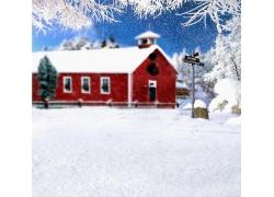 影楼背景图片-红房雪地