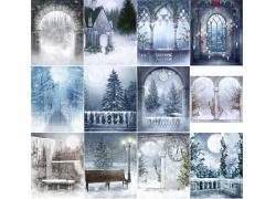 冬天风景影楼背景图片(12p)
