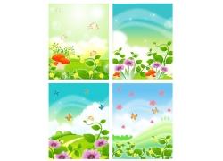 春天风景移门图案