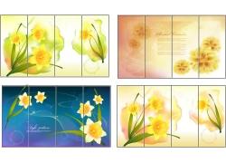 精美鲜花移门图案矢量素材