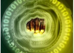 创意拳头与数字科技背景图片
