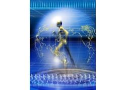 奔跑的人体创意科技背景图片