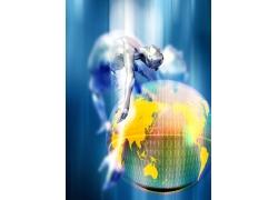跳跃的人体与地球数字科技背景图片