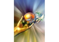 双手手掌与地球创意科技背景图片