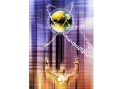 人体与地球创意数字科技背景图片