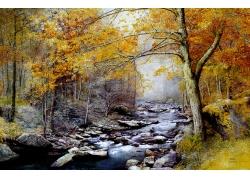 秋天树林小溪风景油画