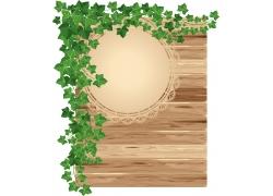 花与叶的木制背景
