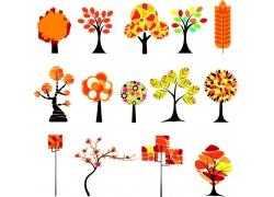 手绘四季花卉植物素材
