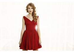 外国明星偶像红衣美女