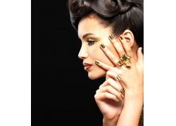 金色彩妆模特美女