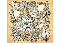 复古玉兰花月季花叶子图案