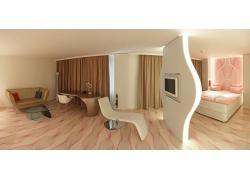现代风格卧室和客厅室内设计