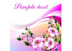 盛开的粉色花朵插画