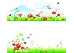鲜花草地与蝴蝶