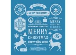 圣诞节艺术字与麋鹿