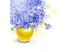 盛开的蓝色花朵插画