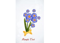 蓝色卡通花卉背景