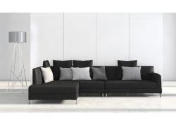 现代简约沙发与落地灯