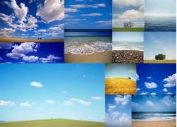 蓝天草地大海高清风景图片
