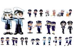 卡通警察psd素材