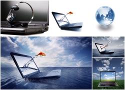 创意电脑与水晶地球高清图片