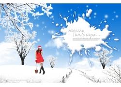 冬天雪景与美女人物psd素材图片