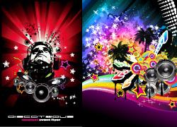4款潮流音乐海报矢量素材