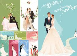 婚礼人物矢量素材