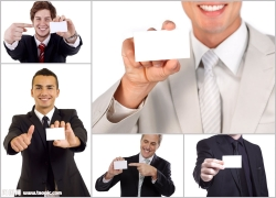 商务人士手拿卡片高清图片(5p)