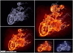 火焰摩托车与骷髅人高清图片(5p)