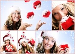 微笑女人与礼物图片素材(5p)