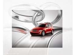 红色轿车海报psd素材