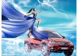 蓝裙美女汽车广告psd素材