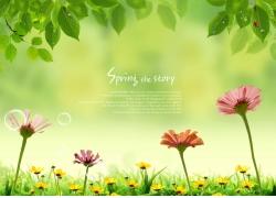 花朵绿叶春天素材