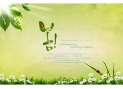 树叶绿色背景PSD素材