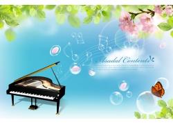 钢琴 音符春天PSD素材