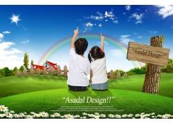 坐草地手指天空的儿童PSD素材