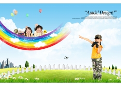 望远女孩指彩虹PSD素材图片