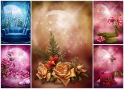 月亮花朵图片素材(5p)