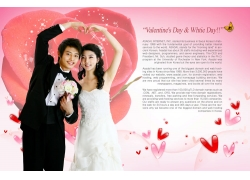 玫瑰背景与心形手势的情侣psd素材