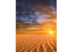 沙漠 沙丘 晚霞高清图片