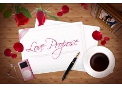 玫瑰花瓣与咖啡psd素材