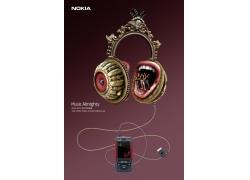 诺基亚音乐手机抽象耳机PSD素材