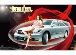 性感车模与汽车海报PSD素材