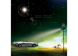 夜空下奔驰的汽车广告PSD素材