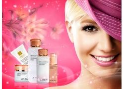 化妆品 粉色背景PSD素材