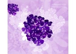 紫色浪漫花朵背景PSD素材