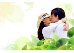 相拥接吻的情侣PSD素材