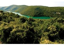 青山中的碧色河流自然景观图片