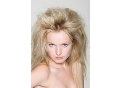 欧美女模凌乱发型图片素材